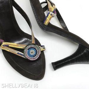 COSTUME NATIONAL Beaded Thong Sandals Heels 38 7.5